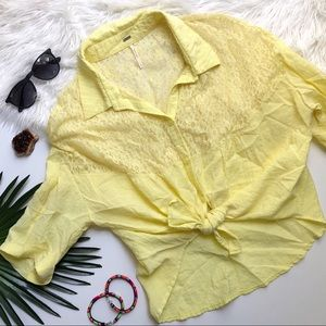 [Free People] Yellow Floral Lace Button Down